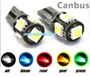 5 SMD CANBUS LED W5W T10 (Wit/Blauw/Geel/Rood/Groen)